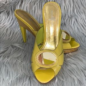 Vince Camuto green and gold heels